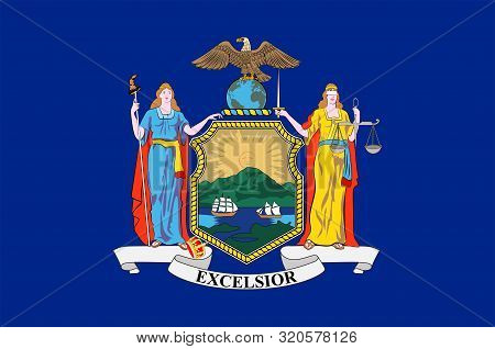 Flag Of New York Is A State In The Northeastern United States. Vector Illustration
