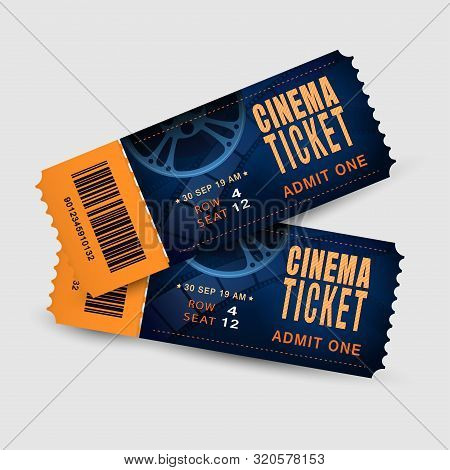 Two Cinema Tickets Isolated On White Background. Pair Movie Entrance Ticket. Realistic Template Set