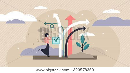 Decision Making Vector Illustration. Flat Tiny Choose Options Person Concept. Career, Life And Quest
