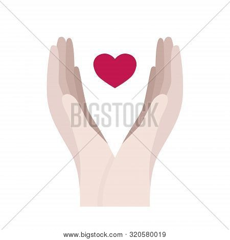 Hands Holding A Heart. Medical, Sharing, Self Care Concept