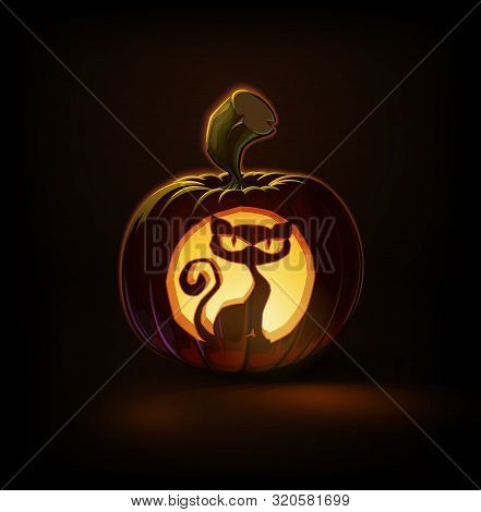 Halloween Cartoon Vector Illustration Of A Jack-o-lantern Pumpkin With A Spooky Cat Curving, Lit And