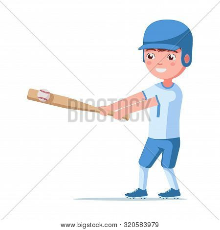Boy Baseball Player Is In A Sports Uniform In A Helmet With A Bat And Ball. Small Child Hits A Bat B