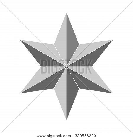 3d 6 Point Beveled Star. Vector Illustration . Template For Your Design