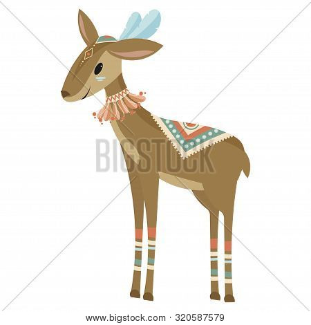 Cartoon Antelope Indian. Vector Illustration Of A Cute Antelope In A Headdress With Feathers. Drawin
