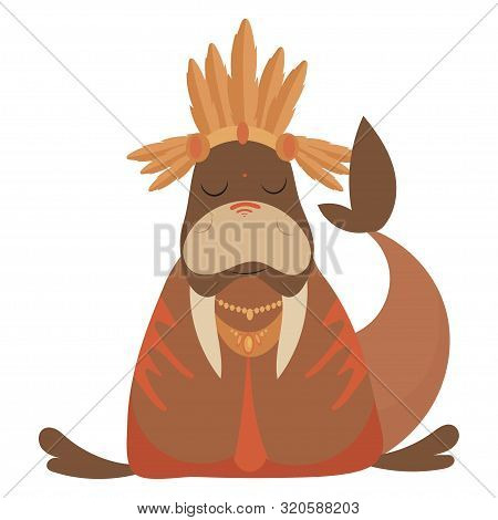 Cartoon Walrus Indian. Vector Illustration Of A Cute Walrus In A Headdress With Feathers. Drawing An