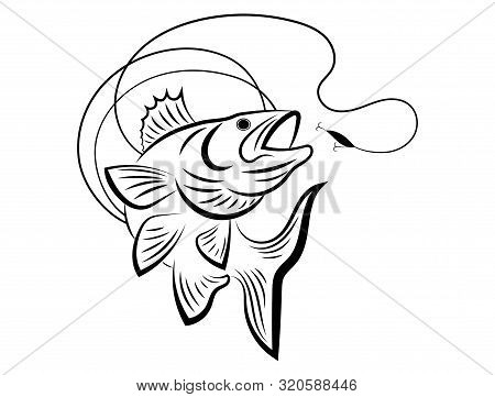 Fishing Logo. Black And White Illustration Of A Fish Hunting For Bait. Predatory Fish On The Hook. F