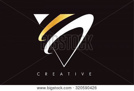 V Golden Letter Modern Trendy Design Logo. Letter V Gold Icon Logo With Monogram Vector Illustration