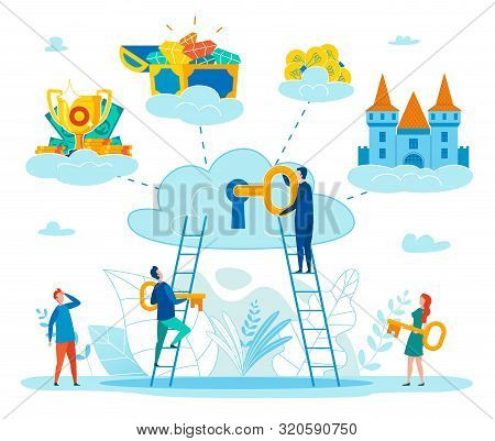Finding Key To Personal Happiness Flat Vector Concept With People Climbing On Ladder To Cloud, Putti