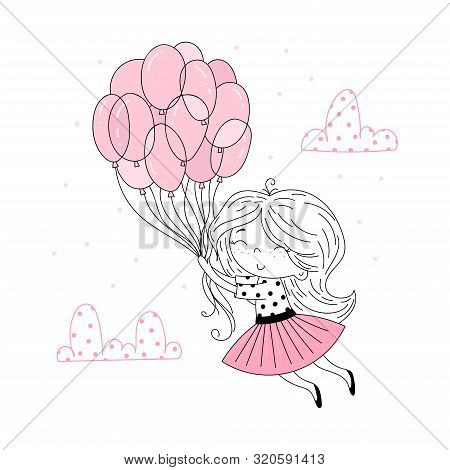 Cute Little Girl In Pink Flying Away In The Sky With Her Pink Umbrella. Vector Funny Doodle Illustra