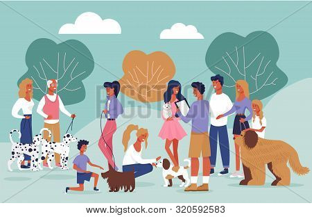 Informational Poster Dog Owners Meeting Cartoon. People Walk In Park With Dogs. Meet Dog Owners For