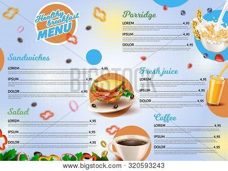 Poster Inscription Healthy Breakfast Menu 3d. Banner Assortment Minimum. Simple Menu Form For Cafes