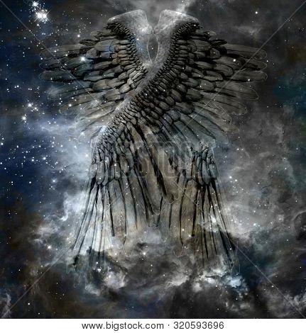 Angels wings in mystic space. 3D rendering