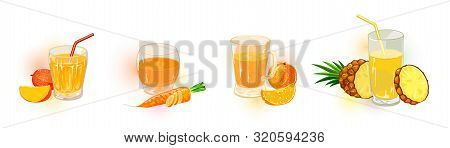 Vector Set With Different Shapes Glassware Of Peach, Carrot, Mango, Pineapple Juices, Nectars, Saps,