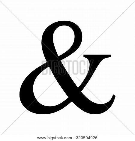 Black Ampersand Symbol Isolated On White Background