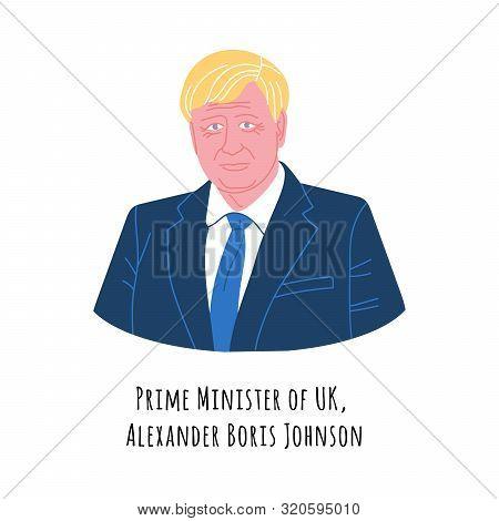 September, 2019: Vector Portrait Of Boris Johnson, United Kingdom Prime Minister, British Government