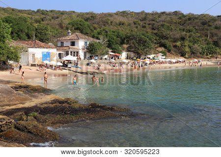 Buzios, Brazil - October 16, 2014: People Visit Ferradura Beach In Buzios, State Of Rio De Janeiro I
