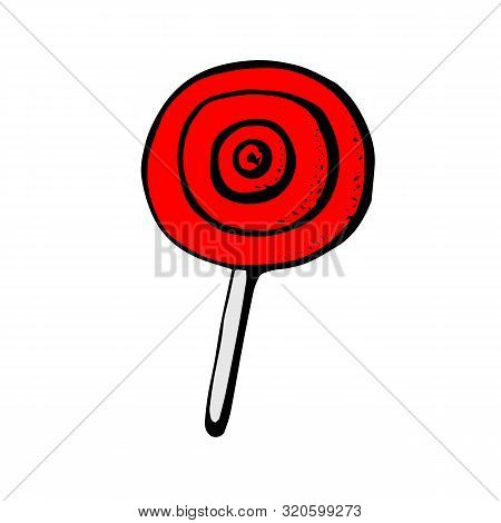 Red Lollipop Icon. Cartoon Of Red Lollipop Vector Icon For Web Design Isolated On White Background.