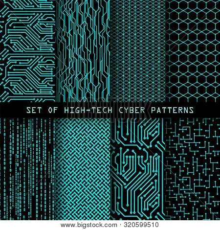 Set Of Seamless Cyber Patterns. Circuit Board Texture. Digital High Tech Style Vector Backgrounds.
