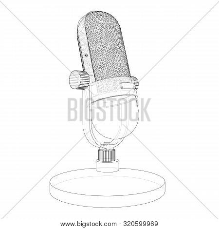 Outline Vintage Microphone Vector. Wire-frame Style. The Layers Of Visible And Invisible Lines. 3d I
