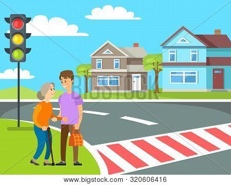 Man Helping Grandma Crossing Road By Zebra, Volunteering To Old Woman, Pedestrians Near Traffic Ligh