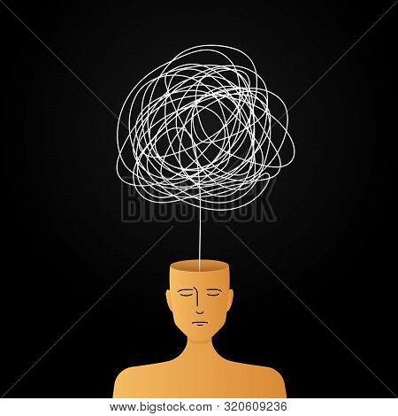 Complicated Abstract Mind Illustration. Empty Head With Messy Line Inside. Tangled Scribble Doodle V