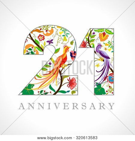21 Years Old Logotype. 21 Th Anniversary Numbers. Decorative Symbol. Age Congrats With Peacock Birds