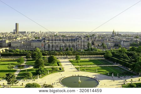 Paris / France - July 4, 2019: Jardin Des Tuileries - The Tuileries Garden, Park. Aerial View.