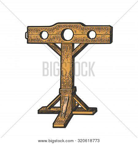 Stocks Medieval Torture Device Color Sketch Engraving Vector Illustration. Tee Shirt Apparel Print D