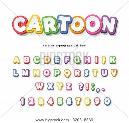 Cartoon Bright Font For Kids. Paper Cut Out Abc Letters And Numbers. Paper Cut Out. Colorful Alphabe