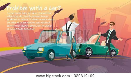 Car Repair Or Towing Service Cartoon Vector Advertising Banner Or Poster Template With Angry After C