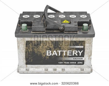 Used Dirty  Car Battery Isolated On White Background 3d Render