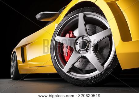 Yellow Sports Car  In Studio. Wheel And Brakes Closeup. 3d Render