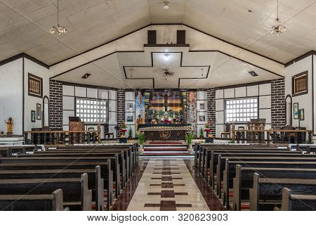 Puerto Princesa, Palawan, Philippines - March 3, 2019: Nave And Chancel With Altar Of Immaculate Con