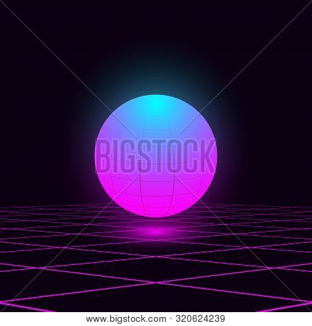 Retrowave Illustration Glowing Vivid Blue Pink Sphere Float In The Space With Laser Grid. Eps 10