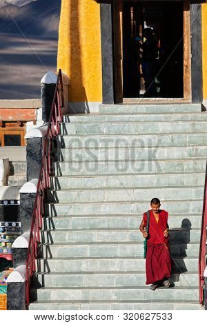 THIKSEY, INDIA - SEPTEMBER 13, 2012: Tibetan Buddhist monk in Thikse (Thiksey) gompa (monastery), Ladakh, India