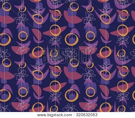 Geometric Cosmos Age Style Seamless Rapport. Atomic Age 50s Vibes Simple Repeatable Pattern. Abstrac