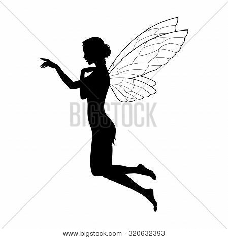 Beautiful Girl Fairy Silhouette In Profile Isolated. Boho Chic Tattoo, Sticker Or Print Design Vecto