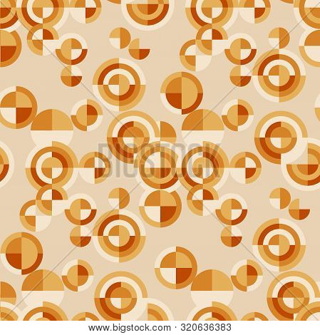 Modern Loose Chaotic Geometry Seamless Pattern. Orange And Yellow Retro Vibes Geometric Repeatable M