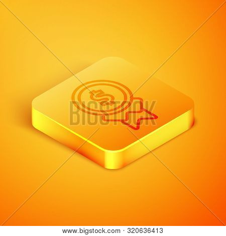 Isometric Line Reward For Good Work Icon Isolated On Orange Background. Employee Of The Month, Talen