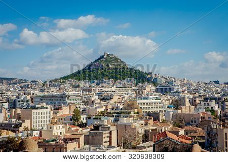 Athens City View With Lycabettus Hill In The Background, Greece