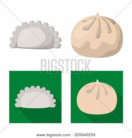 Isolated Object Of Products And Cooking Logo. Set Of Products And Appetizer Vector Icon For Stock.
