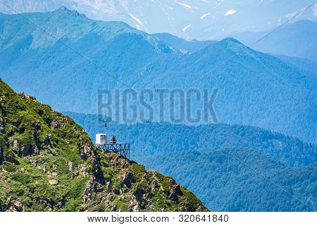 Anti-avalanche Station And Meteorological Station At The Top Of A Mountain Range. Green Vegetation I