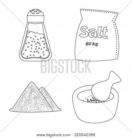 Vector Illustration Of Sodium And Mineral Icon. Set Of Sodium And Kitchen Stock Symbol For Web.