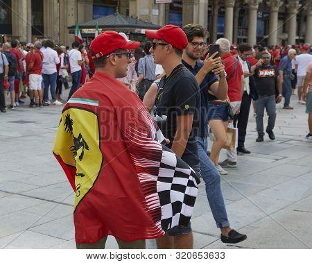 Milan, Italy - September 4th 2019: Ferrari Racing Formula One 90th Anniversary, Duomo Square. Fans W