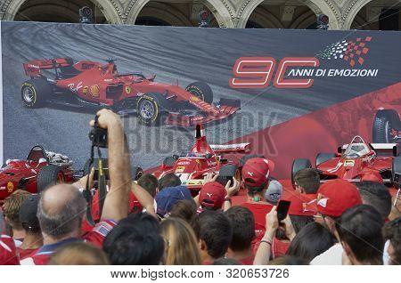 Milan, Italy - September 4th 2019: Ferrari Racing Formula One 90th Anniversary, Duomo Square. Clay R