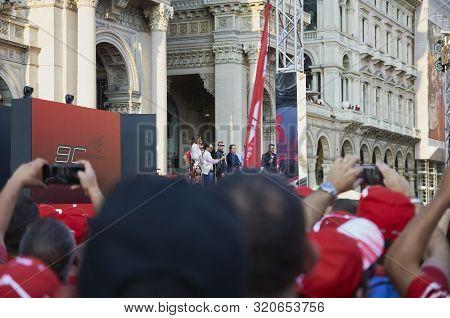 Milan, Italy - September 4th 2019: Ferrari Racing Formula One 90th Anniversary, Duomo Square. Kimi R