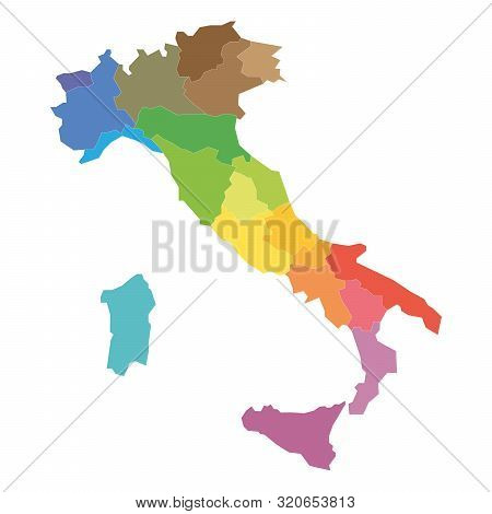 Regions Of Italy. Map Of Regional Country Administrative Divisions. Colorful Vector Illustration