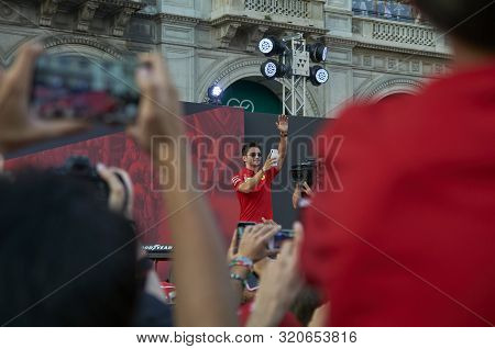 Milan, Italy - September 4th 2019: Ferrari Racing Formula One 90th Anniversary, Duomo Square. Charle
