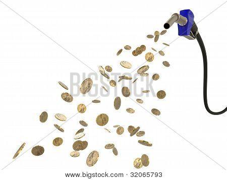 Fuel Nozzle Pouring Dollar Coins