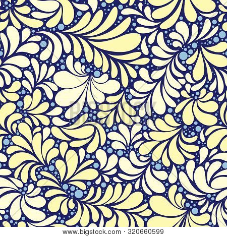 Paisley Or Damask Golden Floral Seamless Pattern, Vector Ornament. Hand Drawn Seamless Pattern. Dama